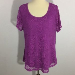 Leo & Nicole Lace Short Sleeve Blouse Lined